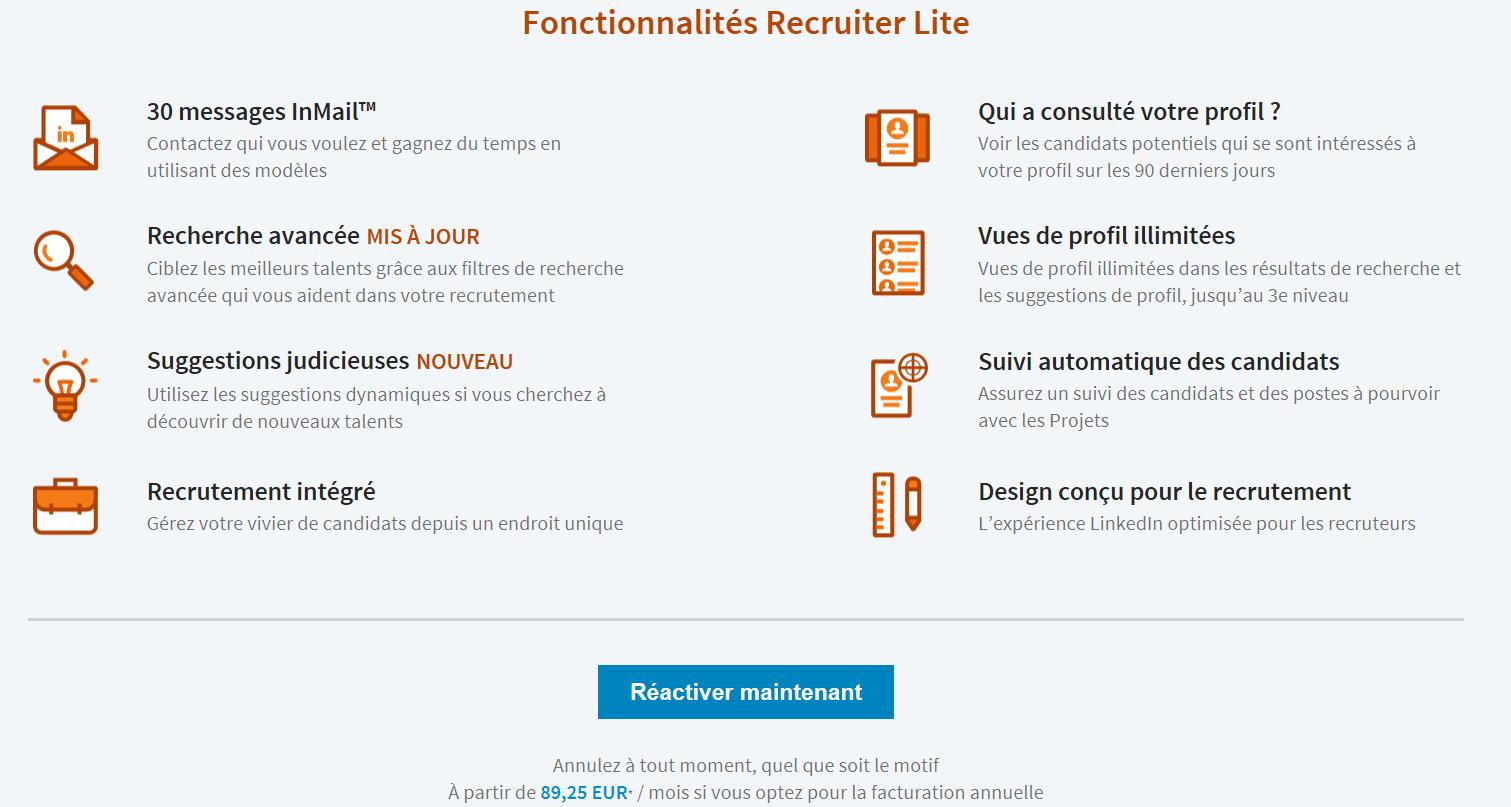 Abonnement linkedin recruiter lite prix