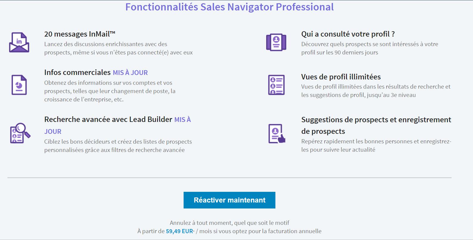 prix linkedin sales navigator
