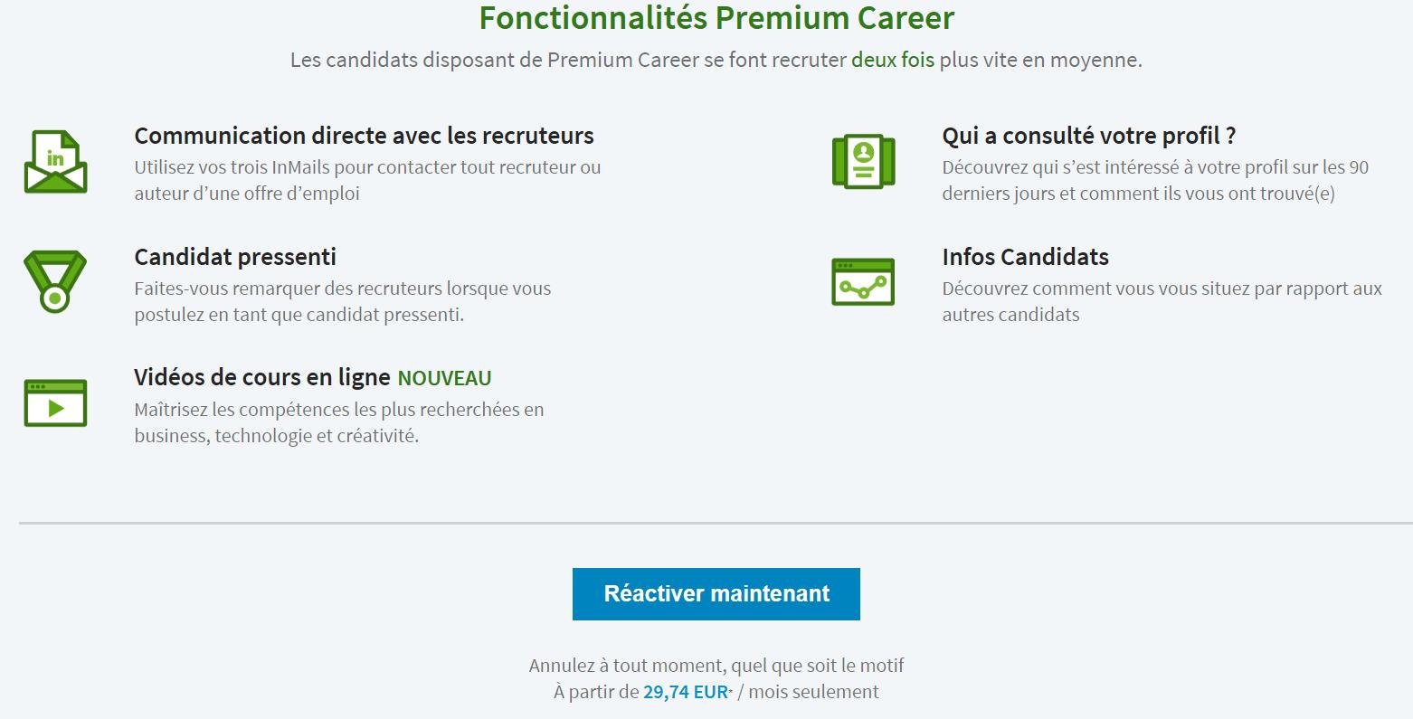 Linkedin premium career prix