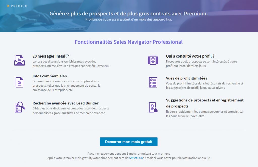 LinkedIn sales nagigator gratuit tutoriel