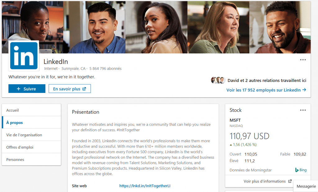 Page LinkedIn entreprise de LinkedIn