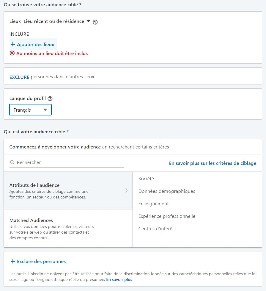 LinkedIn Ads : Configuration de l'audience pour la publicité LinkedIn