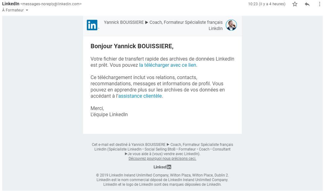 Email de notification LinkedIn pour exporter les emails