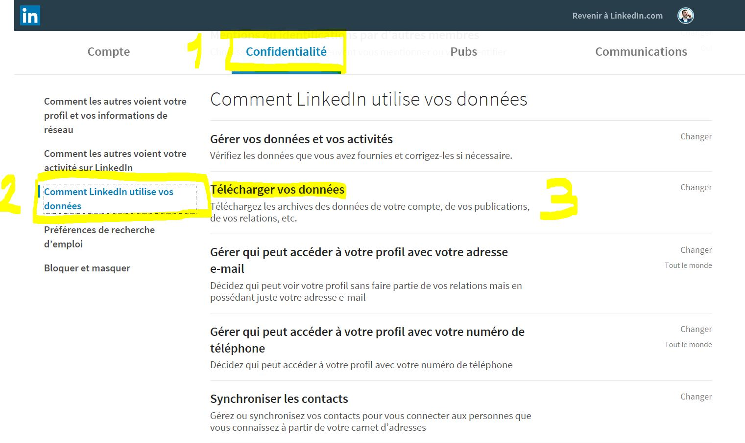 Exporter ses contacts LinkedIn étape 2