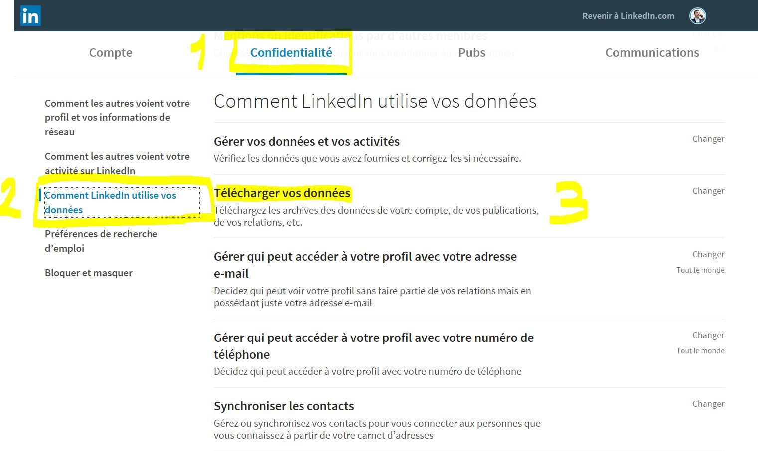 Exporter ses contacts LinkedIn étape 2