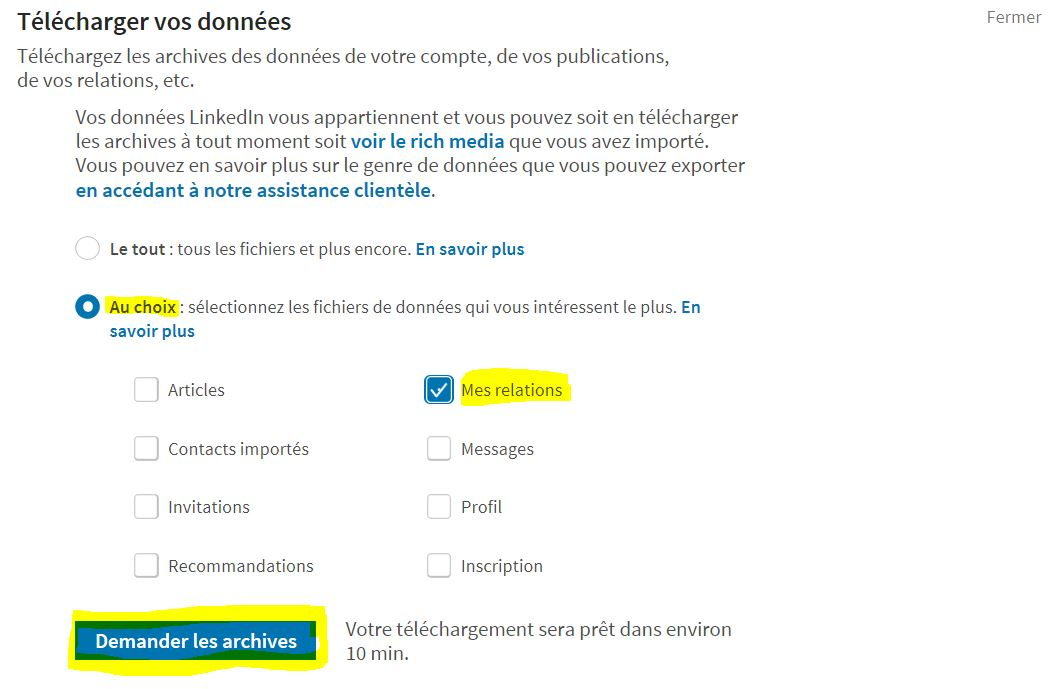 Exporter ses contacts LinkedIn étape 3