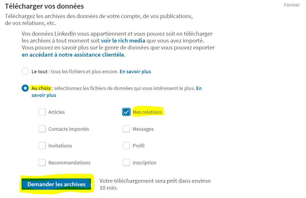 Exporter ses contacts LinkedIn étape 3