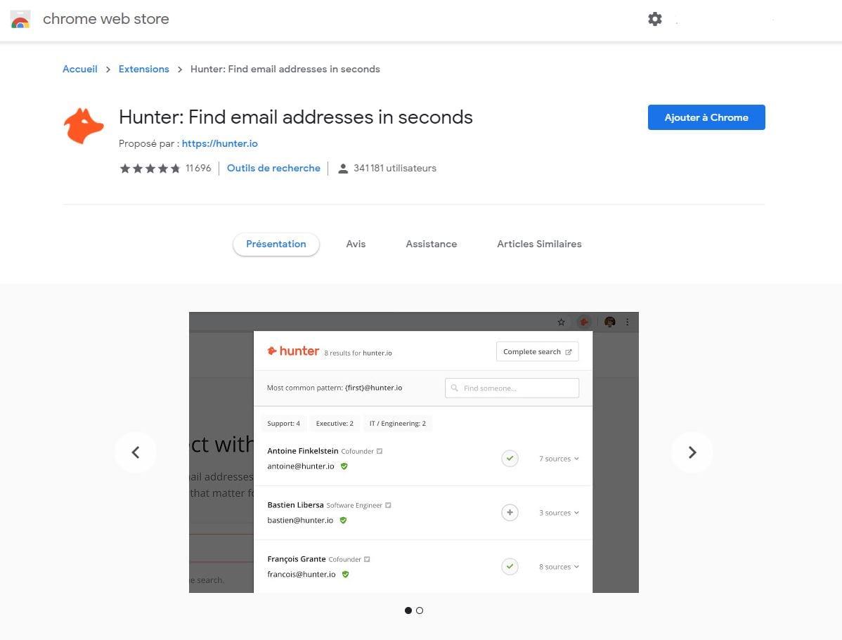 Hunter.io pour trouver les adresses emails LinkedIn