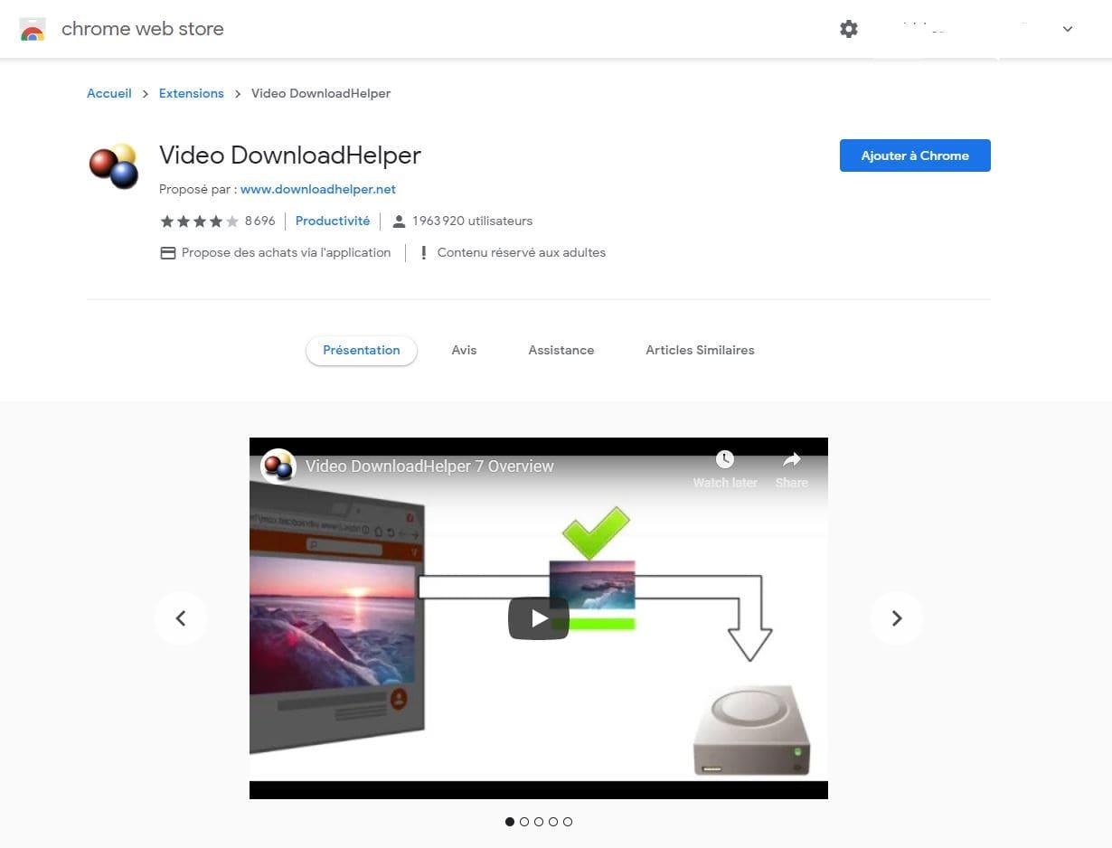Télécharger une vidéo LinkedIn avec l'extension video downloadhelper