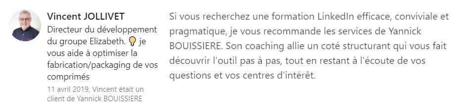 11 recommandation - Expert LinkedIn - Yannick BOUISSIERE - Specialiste LinkedIn, Formateur LinkedIn, Consultant LinkedIn, Coach LinkedIn-min