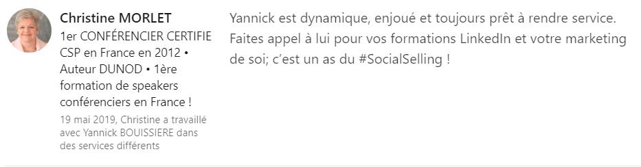 14 recommandation - Expert LinkedIn - Yannick BOUISSIERE - Specialiste LinkedIn, Formateur LinkedIn, Consultant LinkedIn, Coach LinkedIn-min