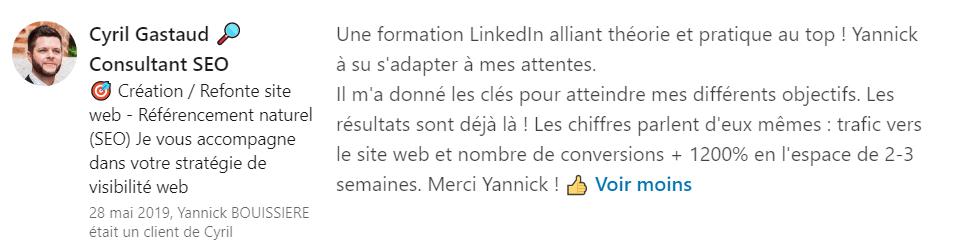 16 recommandation - Expert LinkedIn - Yannick BOUISSIERE - Specialiste LinkedIn, Formateur LinkedIn, Consultant LinkedIn, Coach LinkedIn-min
