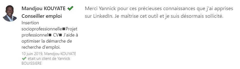 17 recommandation - Expert LinkedIn - Yannick BOUISSIERE - Specialiste LinkedIn, Formateur LinkedIn, Consultant LinkedIn, Coach LinkedIn-min