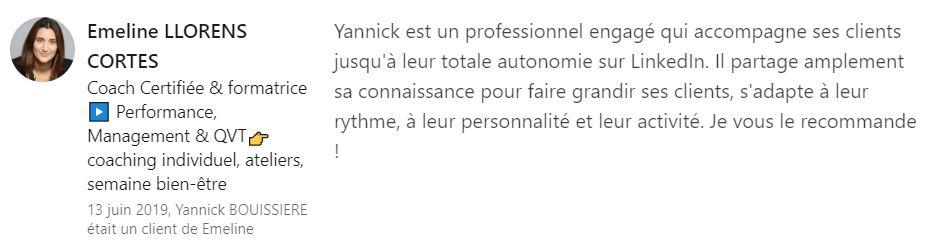 18 recommandation - Expert LinkedIn - Yannick BOUISSIERE - Specialiste LinkedIn, Formateur LinkedIn, Consultant LinkedIn, Coach LinkedIn-min