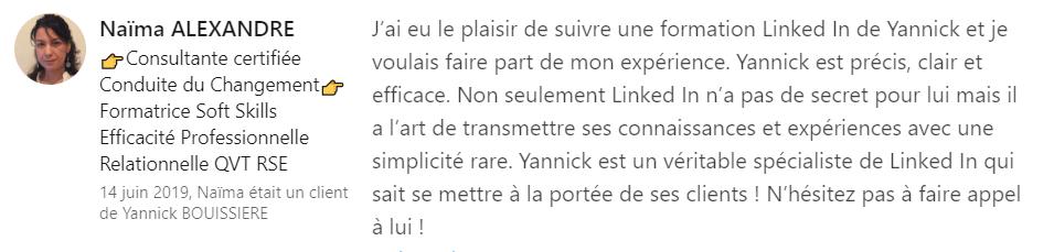 19 recommandation - Expert LinkedIn - Yannick BOUISSIERE - Specialiste LinkedIn, Formateur LinkedIn, Consultant LinkedIn, Coach LinkedIn-min