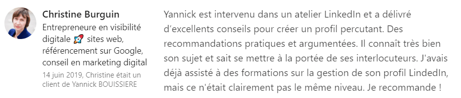 23 recommandation - Expert LinkedIn - Yannick BOUISSIERE - Specialiste LinkedIn, Formateur LinkedIn, Consultant LinkedIn, Coach LinkedIn-min