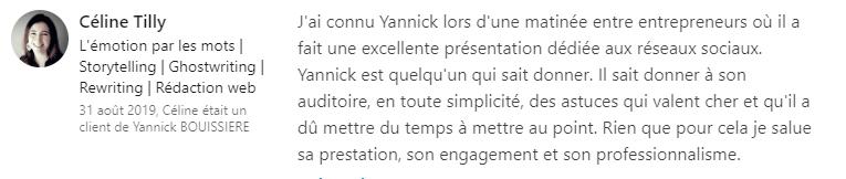 26 recommandation - Expert LinkedIn - Yannick BOUISSIERE - Specialiste LinkedIn, Formateur LinkedIn, Consultant LinkedIn, Coach LinkedIn-min
