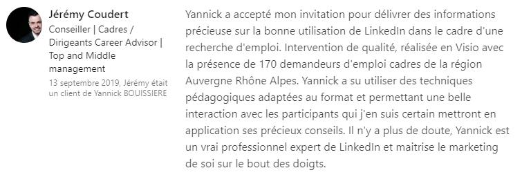 27 recommandation - Expert LinkedIn - Yannick BOUISSIERE - Specialiste LinkedIn, Formateur LinkedIn, Consultant LinkedIn, Coach LinkedIn-min