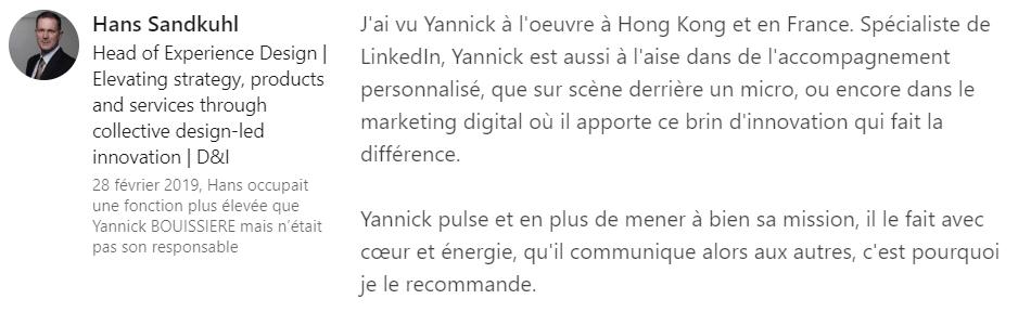 8 bis recommandation - Expert LinkedIn - Yannick BOUISSIERE - Specialiste LinkedIn, Formateur LinkedIn, Consultant LinkedIn, Coach LinkedIn-min
