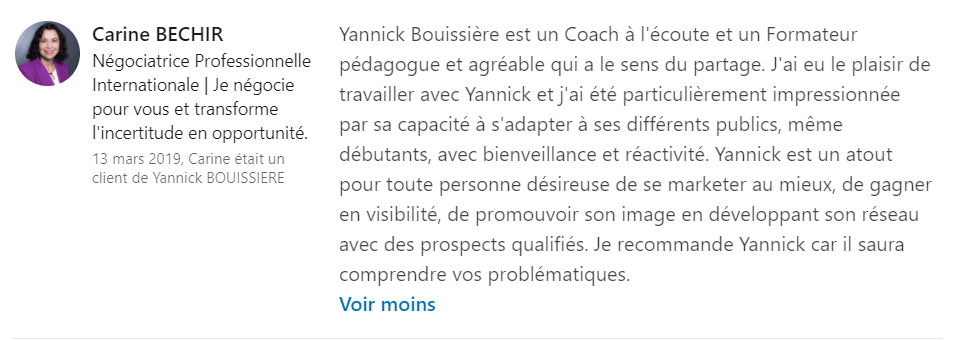 9 recommandation - Expert LinkedIn - Yannick BOUISSIERE - Specialiste LinkedIn, Formateur LinkedIn, Consultant LinkedIn, Coach LinkedIn-min