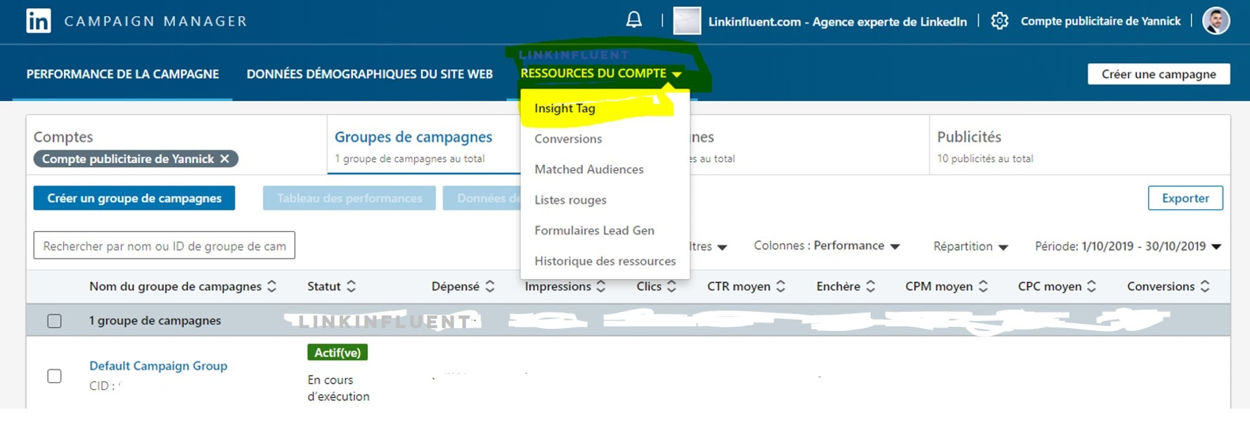 Tutoriel d'installation du Pixel LinkedIn (LinkedIn insight tag) - Etape 3 - Proinfluent
