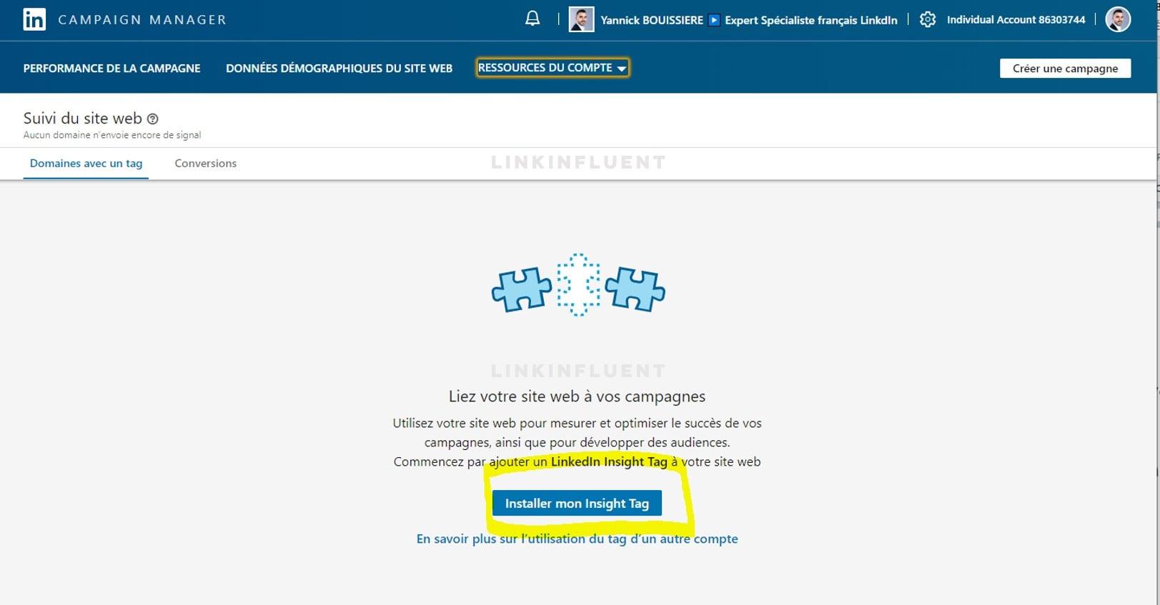Tutoriel d'installation du Pixel LinkedIn (LinkedIn insight tag) - Etape 4 - Proinfluent