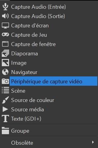 OBS Studio : Périphérique de capture vidéo