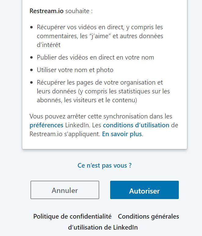 LinkedIn Live : autoriser Restream