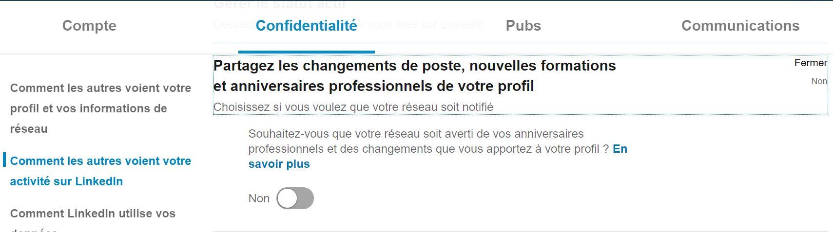 Utiliser LinkedIn : désactiver les notifications