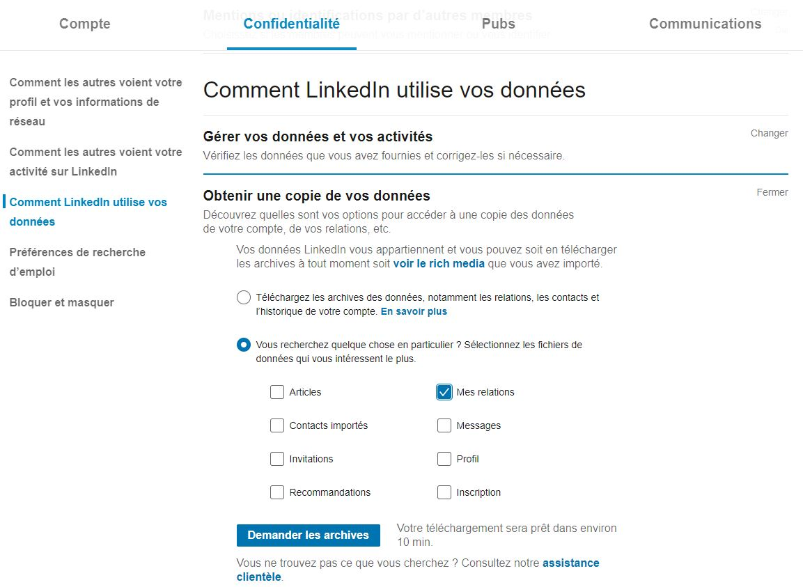 Utiliser LinkedIn : exporter contact