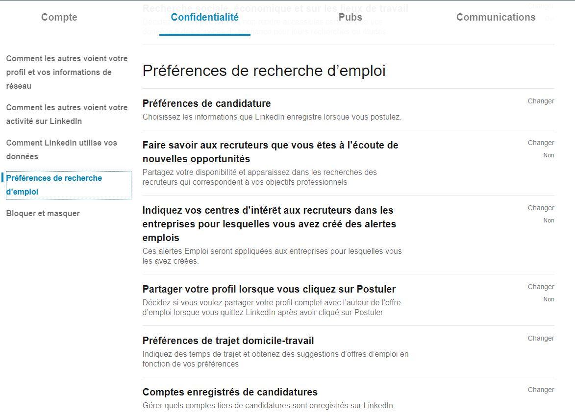 Utiliser LinkedIn : préférences de recherche d'emploi