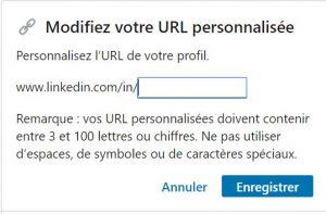 Utiliser LinkedIn : URL personnalisée