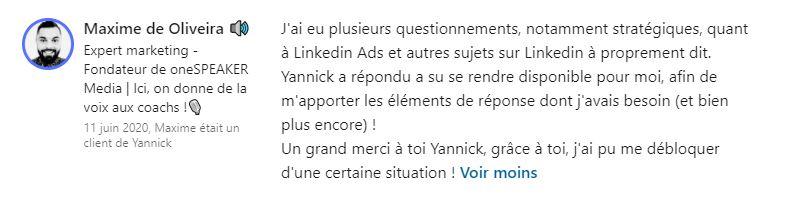 Avis formation Proinfluent de Yannick BOUISSIERE