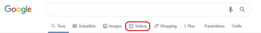 Google onglet video
