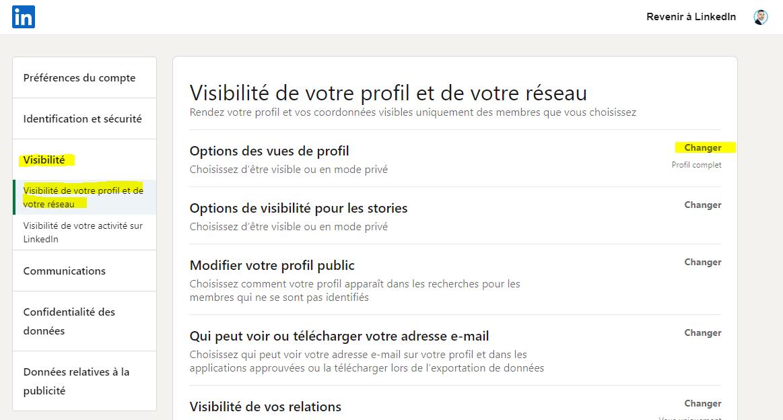 Voir Profil LinkedIn sans etre vu visibilité